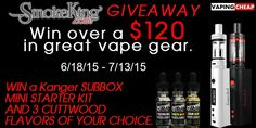 Enter to WIN a Kanger Subox AND 3 bottles of Cuttwood ejuice at VapingCheap.com Enter At: https://gleam.io/PfiEz-Q6QVzM?l=http%3A%2F%2Fvapingcheap.com%2Fsubox-cuttwood-ejuice-giveaway%2F