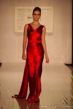 Red satin dress by Nick Verreos - favorite Project Runway designer ever!