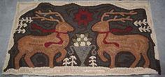 ~ Woodland Yuletide ~ Primitive Hand Hooked Wool Rug 15 x 26
