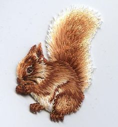 Iron-On Applique Embroidered Patch Forest Squirrel Eating Nuts