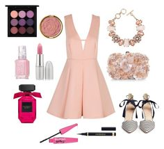 """Pink"" by karinyferreira ❤ liked on Polyvore featuring Milani, J.Crew, Accessorize, ShoeDazzle, MAC Cosmetics, Essie, TheBalm and Yves Saint Laurent"