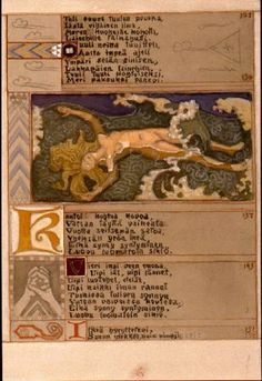 "Akseli Gallen-Kallela Sketch for the Great Kalevala, I Canto. ""Thus she swam the Water-Mother"", Watercolour, The Gallen-Kallela Museum. Runes Futhark, Finland Culture, Science Student, Outsider Art, Culture Travel, Graphic Design Illustration, Mythology, My Books, Vintage World Maps"