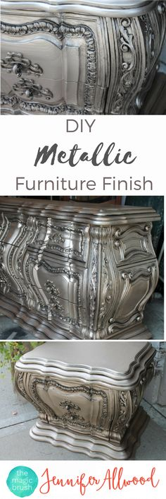 How to paint metallic furniture. This is a gorgeous DIY Silver Furniture Finish that looks stunning on bedroom furniture.   Furniture Painting Tips by themagicbrushinc.com