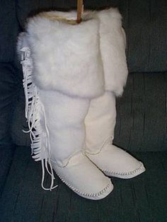 Hand made Moccasins with Bunny Fur on the top really Beautiful and at a great Holiday PRICE