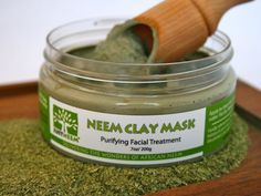 Clay Mask: all-natural blend of deeply cleansing French clay, healing Neem leaves, and hydrating oils, draws out impurities.