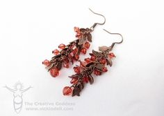 Leaf Chain Copper and Coral Earrings - Vicki O'Dell... The Creative Goddess