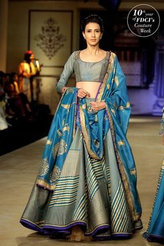 Love the geometric design blue lehenga collection by Reynu Taandon at ICW 2017 #Frugal2Fab