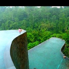 Hanging infinity pools in the Ubud Hanging Gardens, Bali.