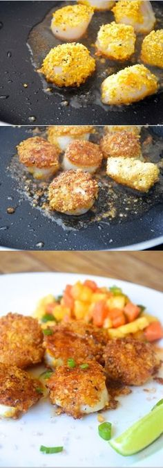 Tortilla Crusted Scallops with Tropical Fruit Salsa