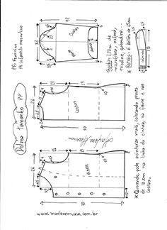 Esquema de modelagem de dolma tamanho PP.