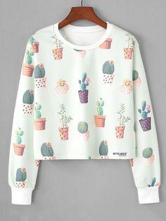 Fashion Hoodie Women Ladies cactus Sweatshirt O-Neck Botany sportswear Long Sleeve Crop Pront Blouse shirt Pullover Tops Green Teen Fashion Outfits, Cute Fashion, Outfits For Teens, Girl Outfits, Sweater Hoodie, Pullover, Hoody, Sweatshirts Online, Kawaii Clothes