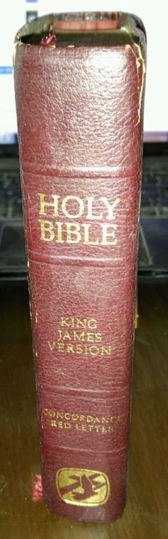 Vintage Leather Surround Bound Snap Close Bonded Bible