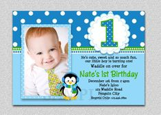 Penguin Birthday Invitation 1st Party Invites Printable Boys Or Girls