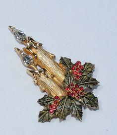 Candle Holly Rhinestone Christmas Brooch Vintage by OodlesofBling, $18.00