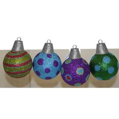"7"" Striped  Dotted Glittered Ball Ornaments - Set of 4 - Price : $29.95 http://www.perfectlyfestive.com/RAZ-Imports-Striped-Glittered-Ornaments/dp/B00A2XEAN8"