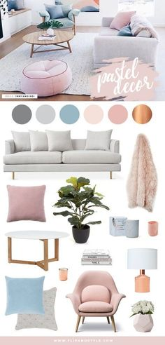 Pastel home decor and interior inspiration. Scandi design mixed with soft blush pink and powder blue hues. By @flipandstyle.