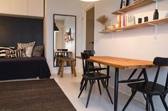Cute little home in Helsinki/Suloinen pieni koti Helsingissä. Small Space Living, Living Spaces, Small Places, City Living, House Goals, Little Houses, Small Apartments, Table And Chairs, Corner Desk