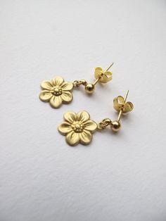 Little Sunflower Studs // Tiny Stud Earrings // Flower Stud // Simple, Everyday Jewelry // Boyfriend Girlfriend // Floral Stud