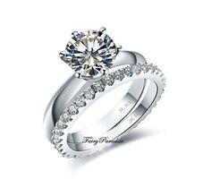 2 pcs Wedding Band Set 1.5 ct Round Brilliant Cut SONA Diamond Engagement plus 0.55 ct Wedding Ring with gift box -made to order $89.00