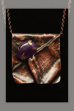 Amethyst and copper fold necklace by DMSprouseArt on Etsy, $88.24