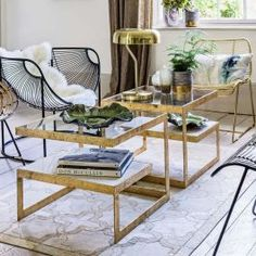 With an elegant Deco style, our Estere gold marble coffee table features two tiers consisting of a clear glass top and marble shelf. Perfect as a side table or teamed together in a duo to create a stunning coffee table in shimmering gold. Coffee Table Furniture, Coffe Table, Modern Coffee Tables, Gold Glass Coffee Table, Art Deco Coffee Table, Marble Room, Gold Marble, Green Marble, White Marble