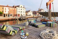 """Missoni Home summer collection 2016 """"Tropical Fish Outdoor"""" Minecraft Real Life, Outdoor Loungers, Beautiful Beach Houses, Yacht Interior, Interior Design, Outdoor Furniture, Outdoor Decor, Industrial Furniture, Rustic Furniture"""