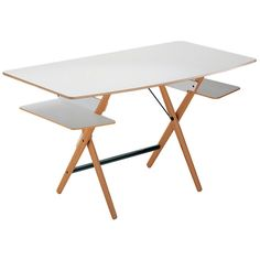 Retro style, inspired by the Italian Rationalist school of the 1930s-40s and meant for old school writing. The Scritarello Desk designed in 1996 by Achille Castiglioni. Available from suiteny.com