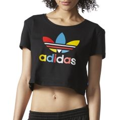 Find classic style this season with the adidas® Women's Slim Crop T-Shirt. A stretch construction and cropped length create a flattering, feminine appearance that is perfect for the gym or lounging by the pool. The wide neckline and slim silhouette offer enhanced mobility and flexibility, while ultra-soft fabrication delivers maximum comfort. Get a strikingly cool look with the multicolored adidas® Slim Crop T-Shirt.