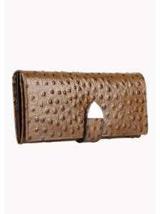 Isabella Long Wallet Ostrich Leather Brown