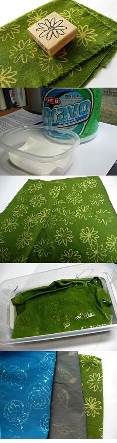 DIY  :: How To Stamp With Bleach On Fabric ( http://www.untrendylife.com/2013/01/tutorial-how-to-stamp-with-bleach-on.html )