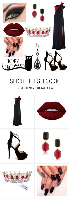 """Devil Queen"" by lola-111-love ❤ liked on Polyvore featuring Elizabeth Kennedy, Lime Crime, Christian Louboutin, 1st & Gorgeous by Carolee and 1928"