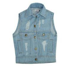 Colete jeans infantil destroyed da marca Coleteria ♡ - Coletes femininos e infantis - Coleteria | sempre♡