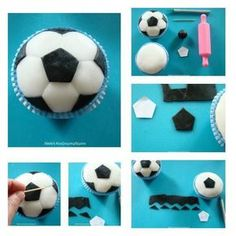 How to make a soccer ball cupcake. Cupcake Tutorial, Diy Cupcake, Fondant Tutorial, Cupcake Cakes, Soccer Cupcakes, Soccer Cake, Fondant Toppers, Cupcake Toppers, Soccer Birthday