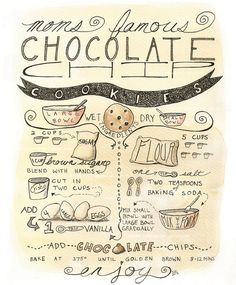 Items similar to illustrated recipe - custom design illustrated recipe art for kitchen or home on etsy - Chocolate chip cookie recipe illustration print – kitchen decor, tea, cookies, recipe, ink - Cake Illustration, Food Illustrations, Chocolate Cookie Recipes, Chocolate Chip Cookies, Sketch Note, Tea Cakes, Vintage Recipes, Cookies Et Biscuits, Recipe Cards