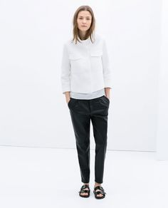 Image 1 of FAUX LEATHER CROPPED TROUSERS from Zara