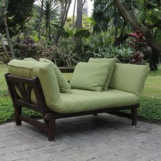 Studio Converting Outdoor Sofa, Brown with Green Cushions