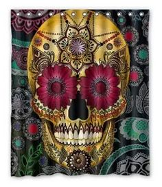 Waterproof Skull Bathroom Shower Curtain