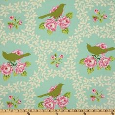 Amazon.com: 56'' Wide Heather Bailey Garden District Mockingbird Sateen Turquoise Fabric By The Yard: heather_bailey: Arts, Crafts & Sewing