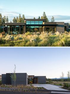 The exterior of this modern house has custom stained cedar siding that helps to blend the house in with the varied textures and subtle colors of the desert. #ModernHouse #Architecture #CedarSiding