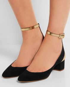 CHLOÉ Suede and mirrored-leather pumps | Buy ➜ http://shoespost.com/chloe-suede-and-mirrored-leather-pumps/