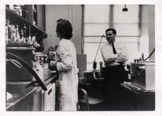 [Martin Rodbell and Ann Butler Jones at NIH]. Photographic Print. 1 Image. [1963 or 1964].