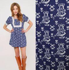 Vintage 60s NOVELTY Print Mini Dress Mod Micro Mini by LotusvintageNY on Etsy #60sdress #minidress #folkprint #moddress #vintagedress