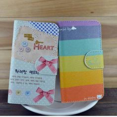 New Cute love Rainbow ButterFly Bow Leather Cover Case For Various mobile phones