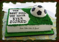 Scored Chocolate grooms cake and rice krispie treat soccer ball. Soccer Birthday Cakes, Soccer Cakes, Sport Cakes, Beautiful Cakes, Amazing Cakes, Cake Cookies, Cupcake Cakes, Chocolate Grooms Cake, Sports Themed Cakes