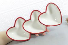 Ceramic Large Triple Heart Bowl White Bright by blueroompottery
