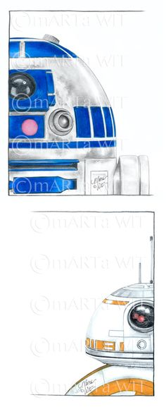 R2 & BB-8, set of (2) 5X7 prints, signed, by Marta Wit