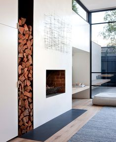 This Victorian home was renovated by Robson Rak Architects along with interior design studio Made By Cohen, located in Melbourne, Australia. Modern Fireplace, Fireplace Design, Metal Fireplace, Simple Fireplace, Victorian Cottage, Victorian Homes, Interior Architecture, Interior And Exterior, Edwardian Haus