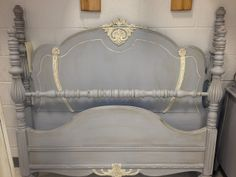 My Twig and Twine Nest: Antique Poster Bed with an ornate headboard, footboard and rails. This was painted with Chalk Paint(r) decorative paint in Paris Grey, Old White and finished with dark and clear wax. Chalk Paint Bed, Annie Sloan Chalk Paint Furniture, Painted Furniture, Sleigh Bed Painted, Painted Beds, Cannonball Bed, Headboard And Footboard, Headboards, Headboard Ideas