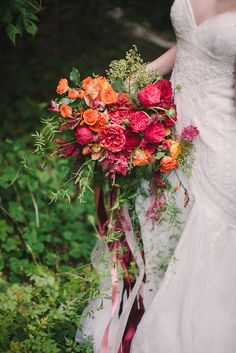 Orange and red wedding bouquet with ribbons | Sweet Root Village | see more on: http://burnettsboards.com/2015/02/midsummer-nights-dream/