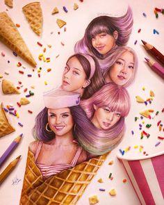 cr. heyheyandre_art Black Pink Songs, Black Pink Kpop, Kpop Drawings, Art Drawings Sketches, Selena Gomez Cute, Blackpink Poster, Blackpink Funny, Lisa Blackpink Wallpaper, Digital Art Girl